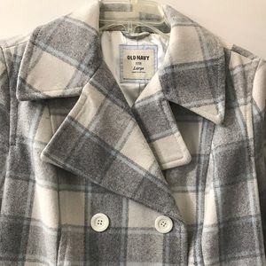 Old Navy Recycled Wool Plaid Pea Coat Large